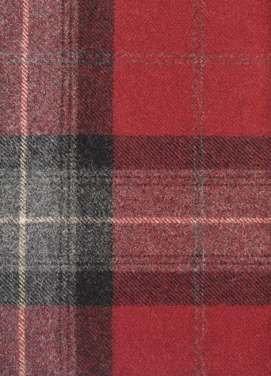 Skye Tartan Fabric 100% Wool tartan in red and grey.