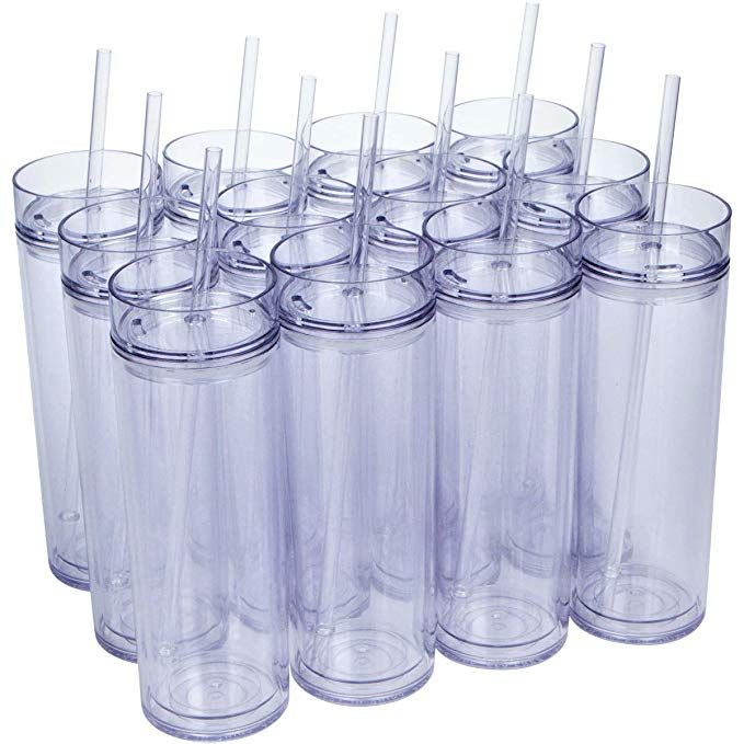 12 Pack Insulated Acrylic Tumblers With Lids And Reusable Straws 16oz Clear Skinny Travel Water Bottles Doub Acrylic Tumblers Reusable Straw Clear Tumblers