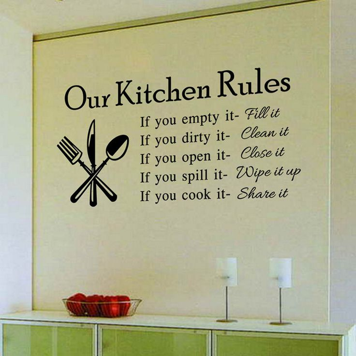 Kitchen decoration  Attractive kitchen sticker on the wall. Thanks to it your kitchen will gain a beautiful, trendy and stylish look and you will always feel good in it and make the best dishes.https://www.cosmopolitus.com/kitchen-gadgets-kitchen-decor-wall-stciker-kitchen-rules-p-251750.html?language=en&pID=251750 #Wall #sticker #kitchen #decoration #cooking #stylish #cheap #fashionable