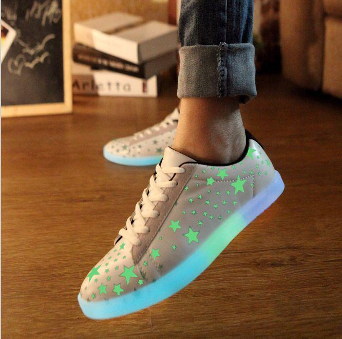 Weiß Sterne Fluoreszierende Schuhe Mit Leuchtende Sohle