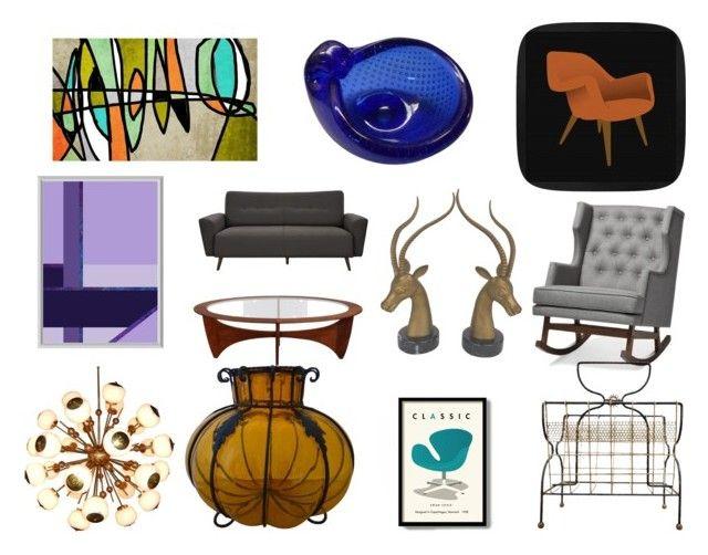 """Mid-Century Modern Furniture"" by gothicvamperstein on Polyvore featuring interior, interiors, interior design, home, home decor, interior decorating, Baxton Studio and modern"