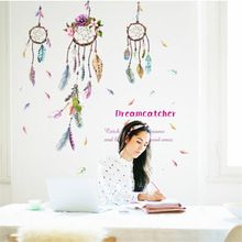 Fashion INDIAN Campanula feather Wall Sticker Dream Wall Art Decal Bohemian Feather Decor Dreamcatcher Bedroom Decor Poster(China (Mainland))