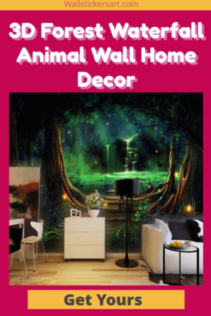 3D Forest Waterfall Animal Wall Home Decor | Wall Designs in