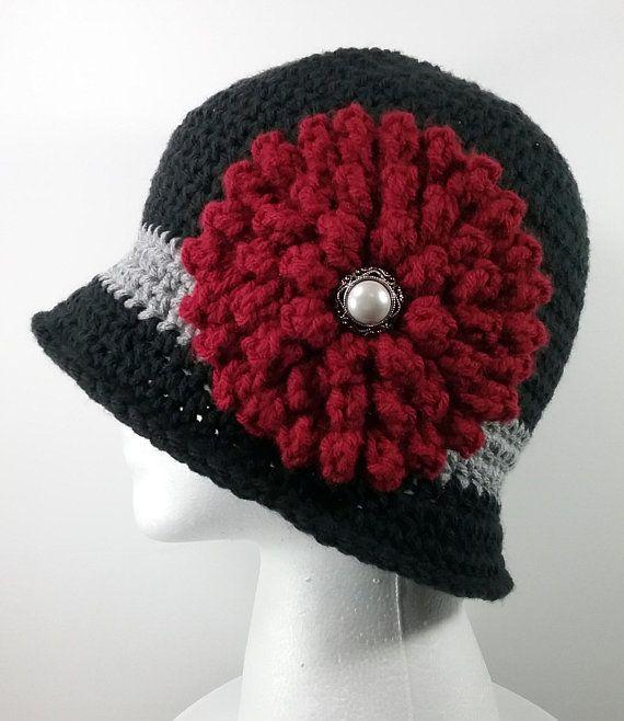 Black Crochet Flapper Style 1920s Cloche Hat Red Flower
