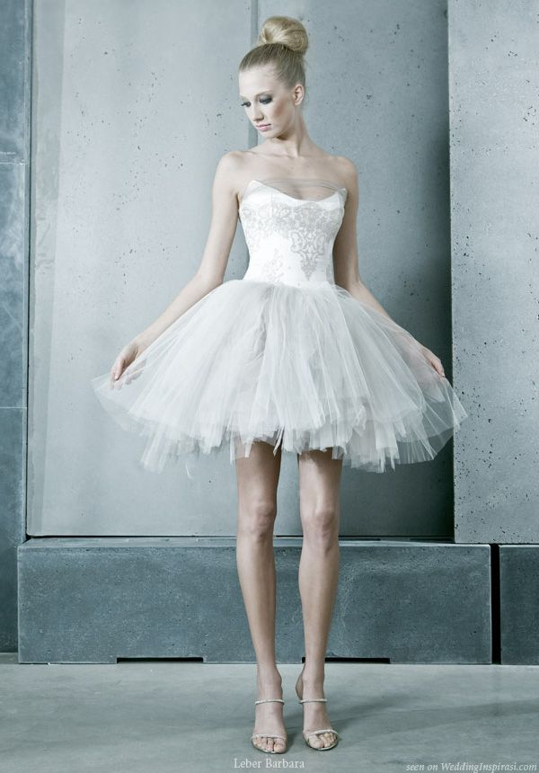 Short and sweet ballerina tutu wedding dress from Hungary based Léber Barbara