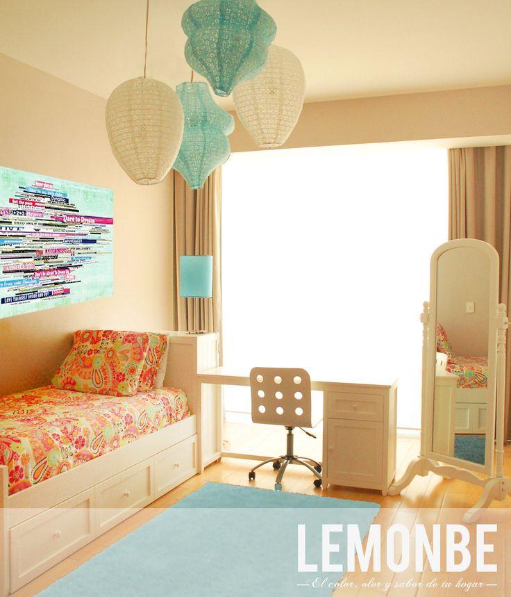 www. lemonbe.mx  teenage girl room  azul, blanco, rosa mezcla perfecta para un cuarto juvenil, fresco y femenino sin caer en lo cursi.