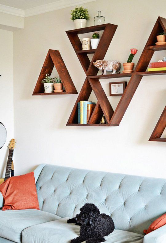 DIY Triangle Shelves diy selfmade triangle dreieck regal regalbrett storage shelf solution