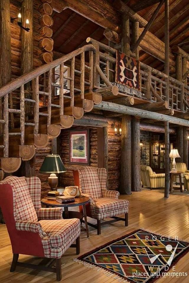 log cabin living room. The log staircase is perfect for my dream cabin  Best 25 Log living ideas on Pinterest houses