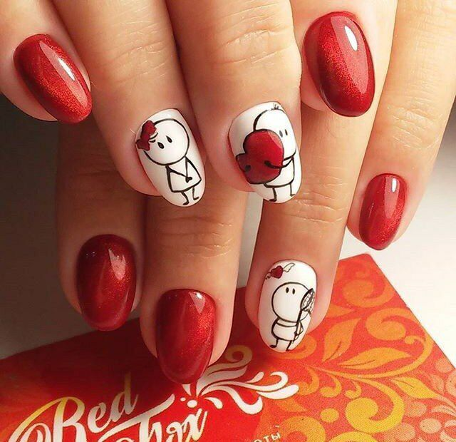 Cute little nails for Valentine's