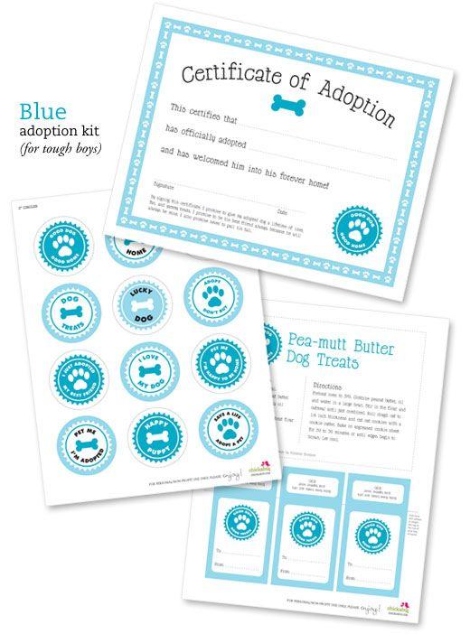 FREE printable dog adoption kits | Chickabug.  A really cute idea!