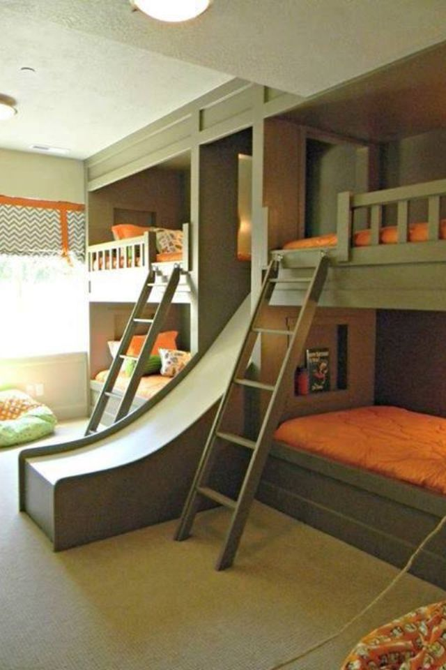 This slide is the literal coolest. Kids room I love love this multiple kiddos this project makes space saving easy