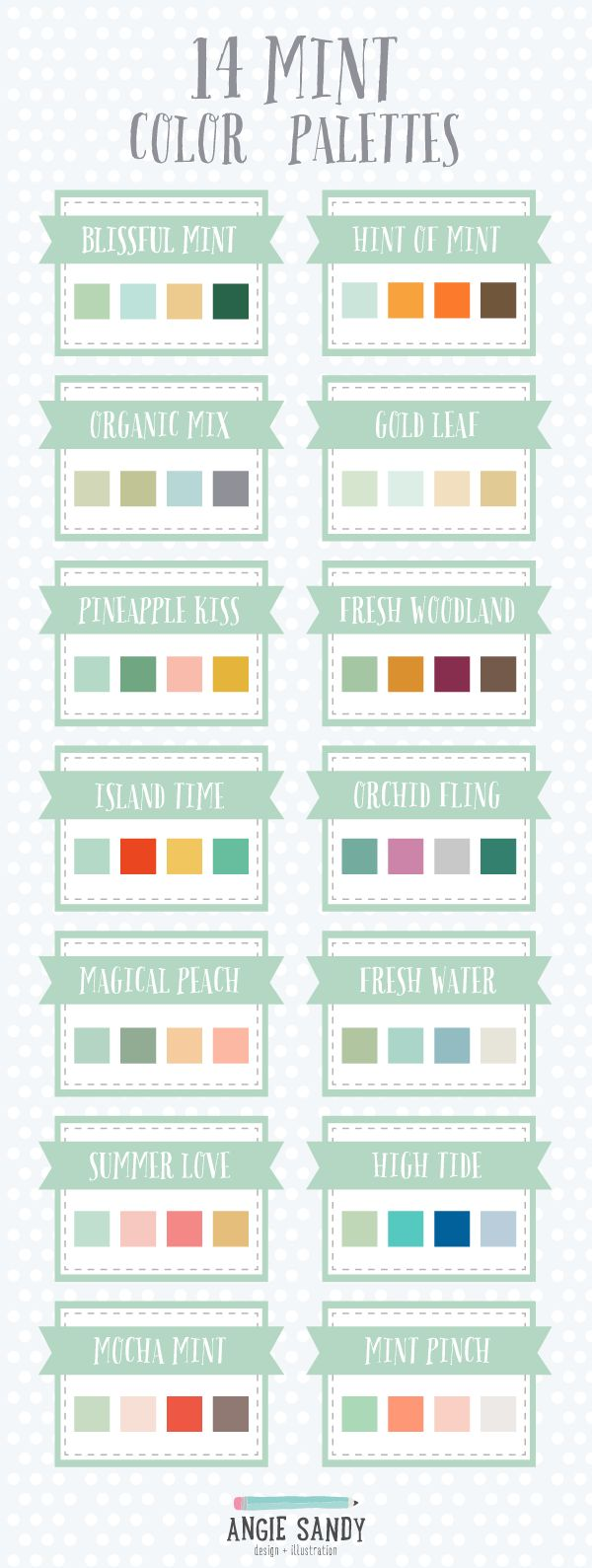 14 Mint Color Palettes | Angie Sandy Design + Illustration #colorpalette #mint #color  Inspirações