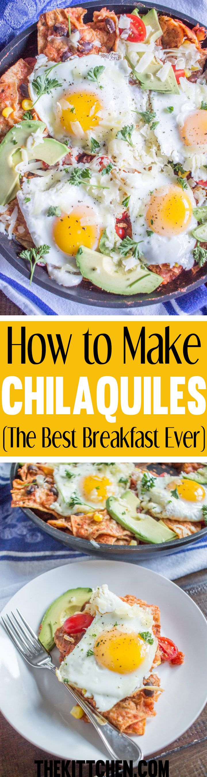 Click to learn how to make chilaquiles. In my humble opinion, this is the best breakfast ever. Plus, it is likely that you have all of the ingredients waiting for you in your kitchen. #breakfastrecipes ***** Chilaquiles recipe | Breakfast ideas | Breakfast recipes | Breakfast recipes healthy | Egg recipes