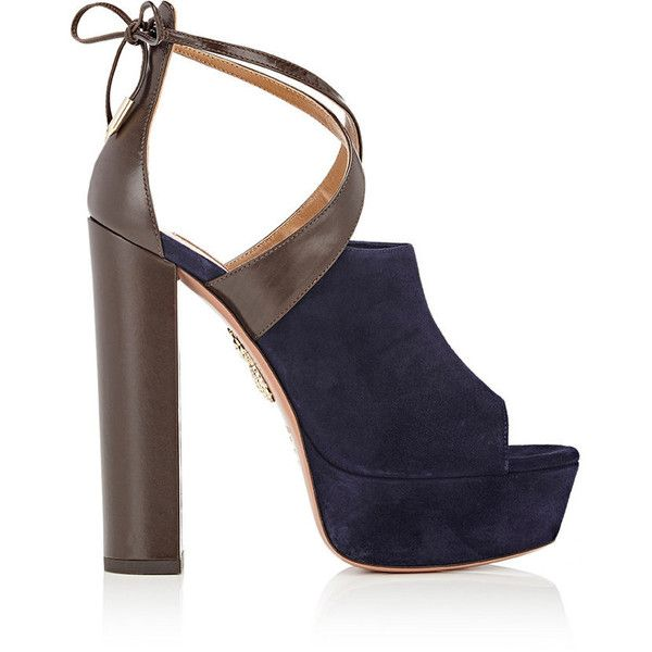 Aquazzura Women's Kaya Plateau Sandals (£250) ❤ liked on Polyvore featuring shoes, sandals, navy, high heel sandals, navy blue sandals, leather ankle strap sandals, navy sandals and navy blue high heel sandals
