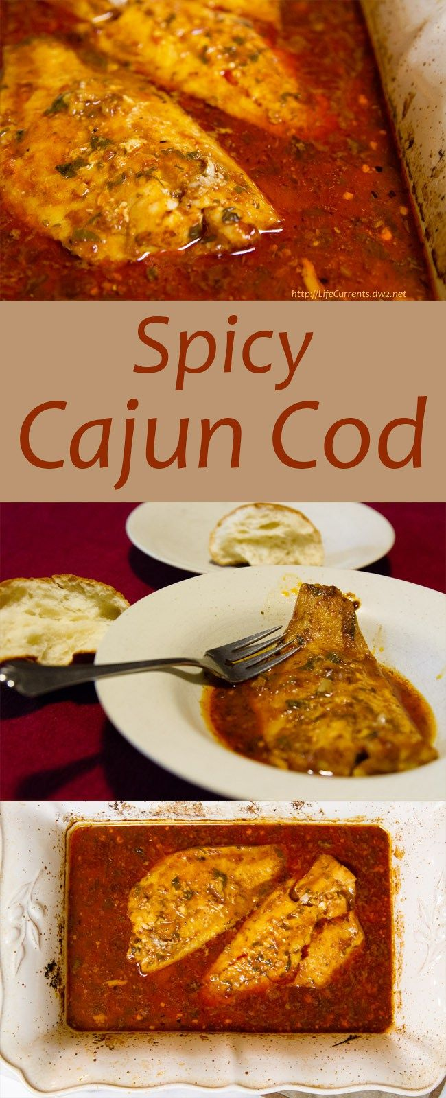 Spicy Cajun Cod: Savory, spicy, fish that you can't quit eating...use crusty, bread to sop up every last drop of the delicious sauce! This fish could easily be a weeknight meal as well. #seafood #fish #cajun