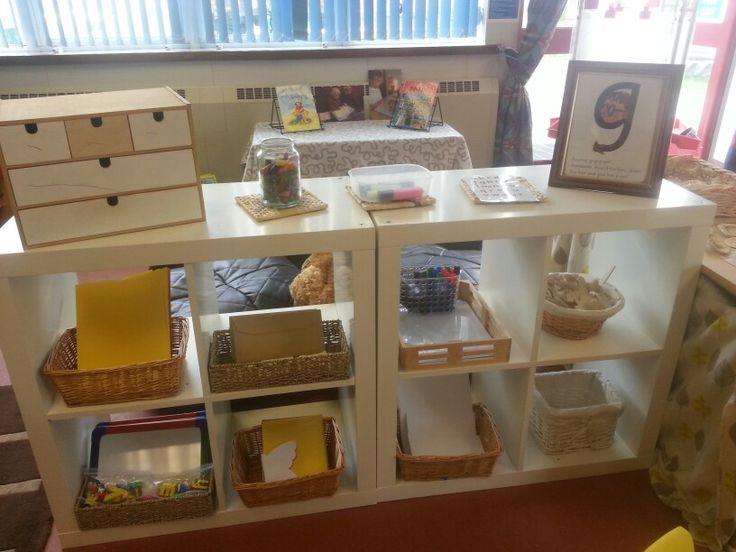 Our new mark making shelves.