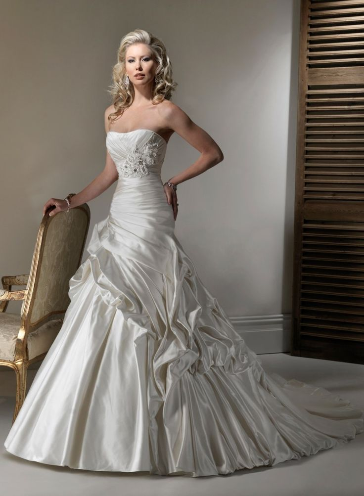 Lace Strapless Dipped Neckline A Line Wedding Dress