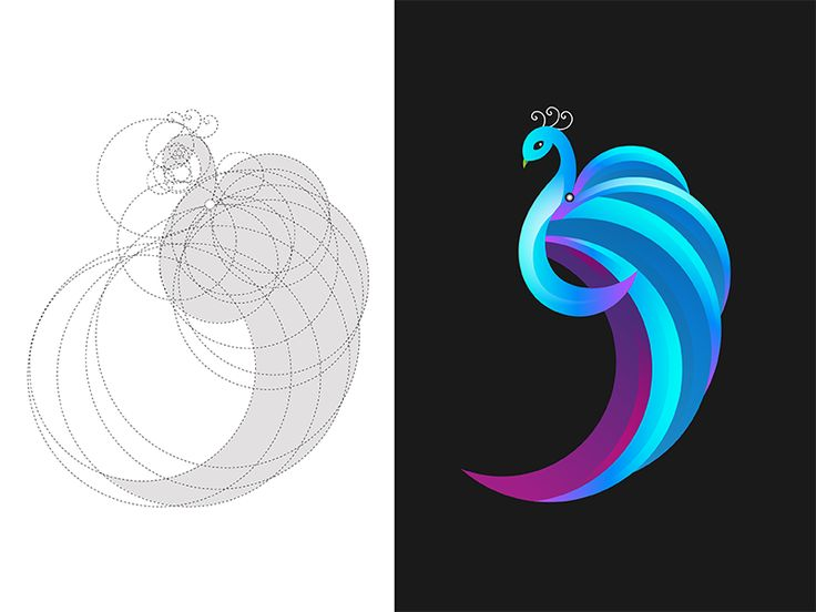 Peacock with logo grid by Nitin Jain #Design Popular #Dribbble #shots