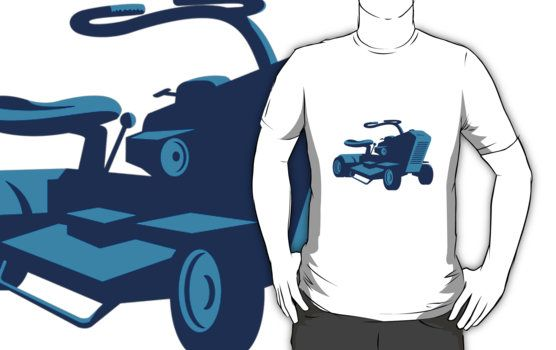 vintage, ride on lawn mower, mower, lawn mower, equipment, machinery, tractor, retro, front, low angle, graphics, vector, isolated