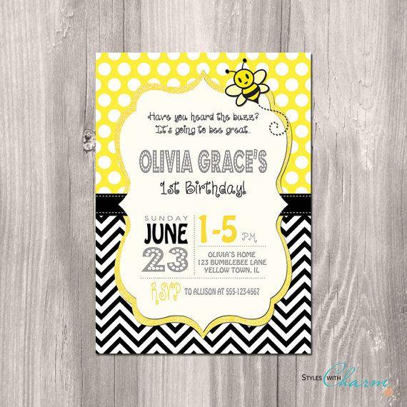 Bumble Bee Birthday Invitation - Bee Birthday Printable Invitation - Bee Invitation - First Birthday Invitation - Girl First Birthday Invite