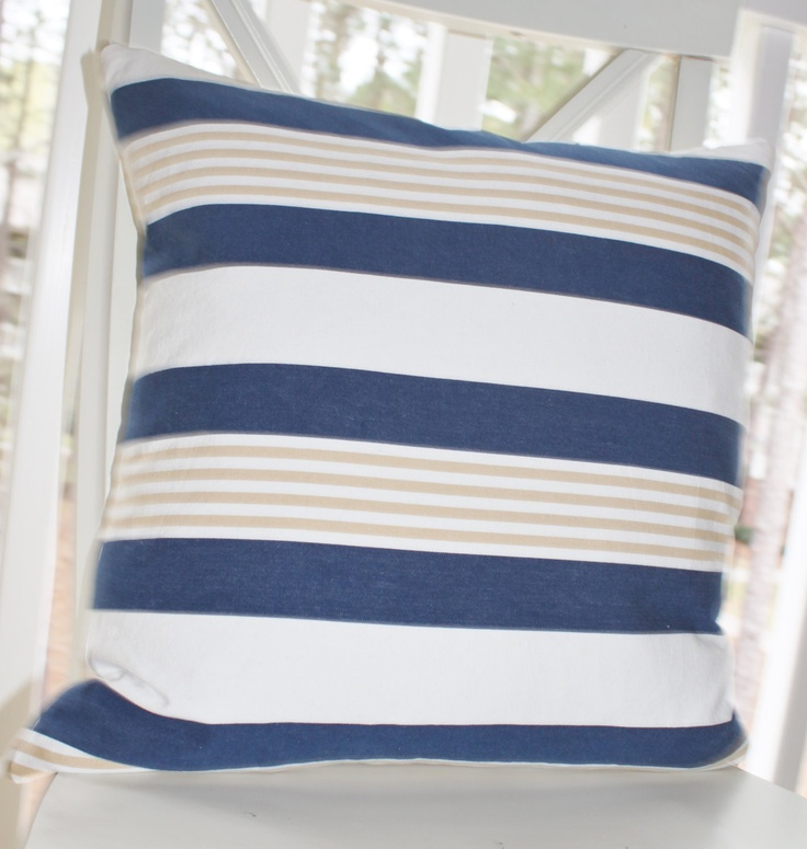 Ready Made Decorative Pillow Covers : Blue Lumbar 14 x 20 - Blue Ivory Cabana Stripe Pillow Cover - Neutral Beach Stripe Pillow ...