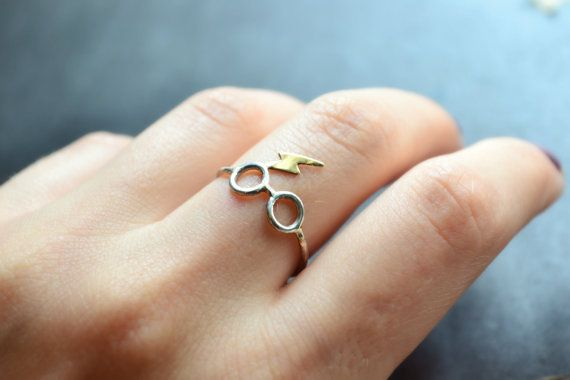 Sterling Silver Ring Glasses and Lightning Scar by NestofReveries