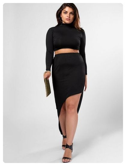 d9c52e6149 High Neck Top and High Low Bodycon Skirt Suit (Black) | Plus Size ...