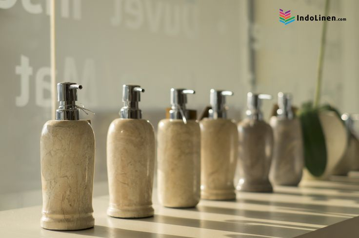 Exquisite Liquid Soap Container made from Marble stone slips comfortably into any bathroom.  comes in a unique design with stainless steel pump.    IndoLinen - Indonesia Hotel and Home Linen Supplier.  Purchase online and we will deliver it to you.
