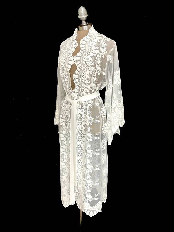 Off white Lace kimono jacket unlined robe different lengths