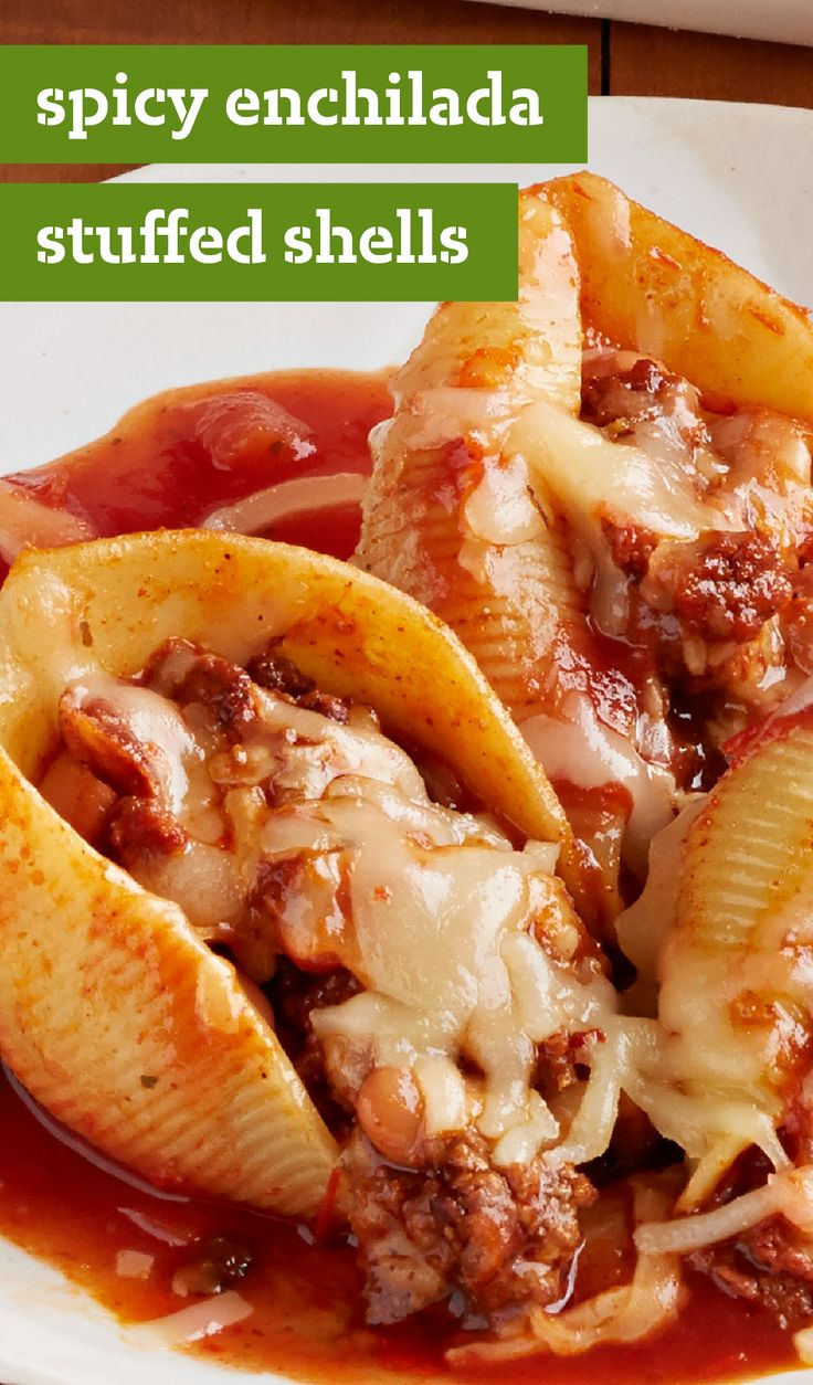 Spicy Enchilada-Stuffed Shells – Explore this delicious recipe for Mexican flavor-infused stuffed shells. Fill pasta shells with beef, chorizo sausage, and bold enchilada sauce in this meaty, cheesy dinnertime dish.