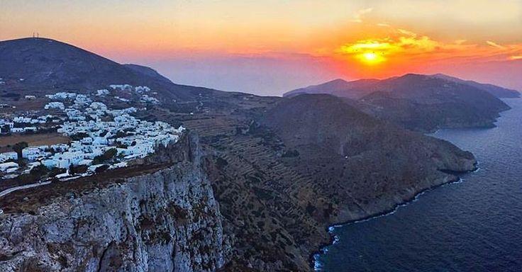 Stunning sunset sky view from the Chora village in Folegandros island (Φολέγανδρος)