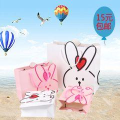 定制 儿童生日礼物袋 宝宝满月回礼品袋手提袋 可爱创意兔子纸袋