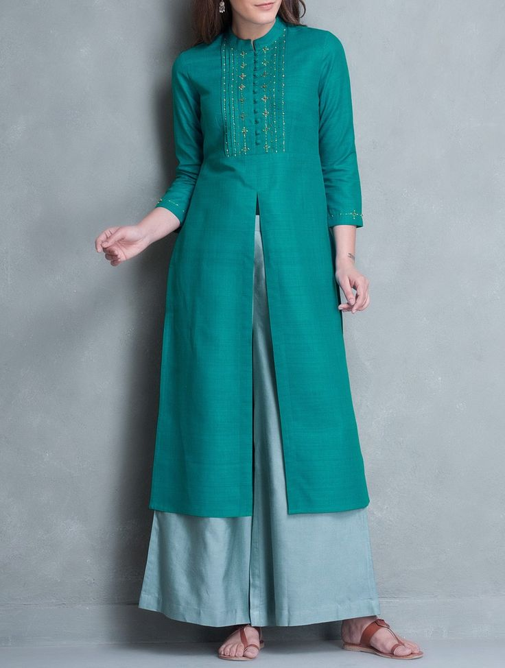 Buy Cyan Zari & Thread Embroidered Yoke Matka Silk Kurta Apparel Tunics…