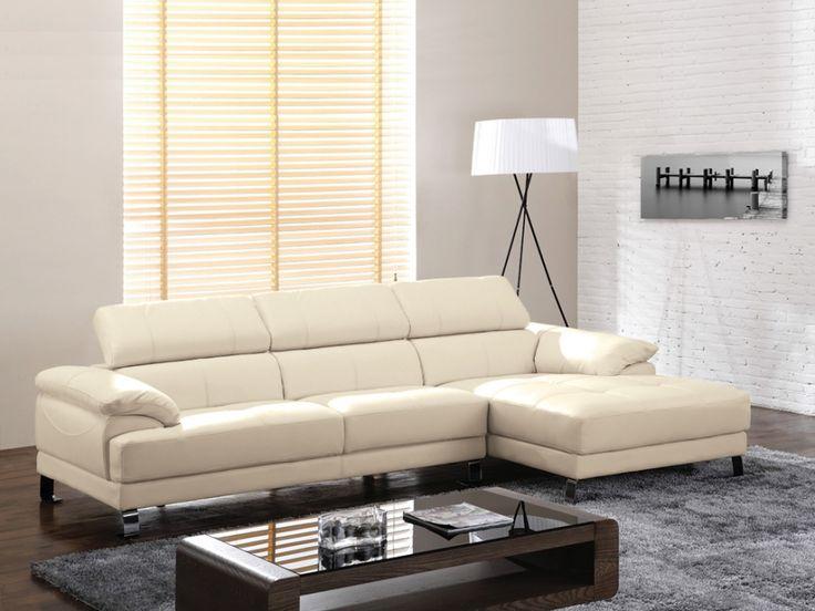 Canapé d'angle en cuir EXCELSIOR II - Ivoire - Angle droit