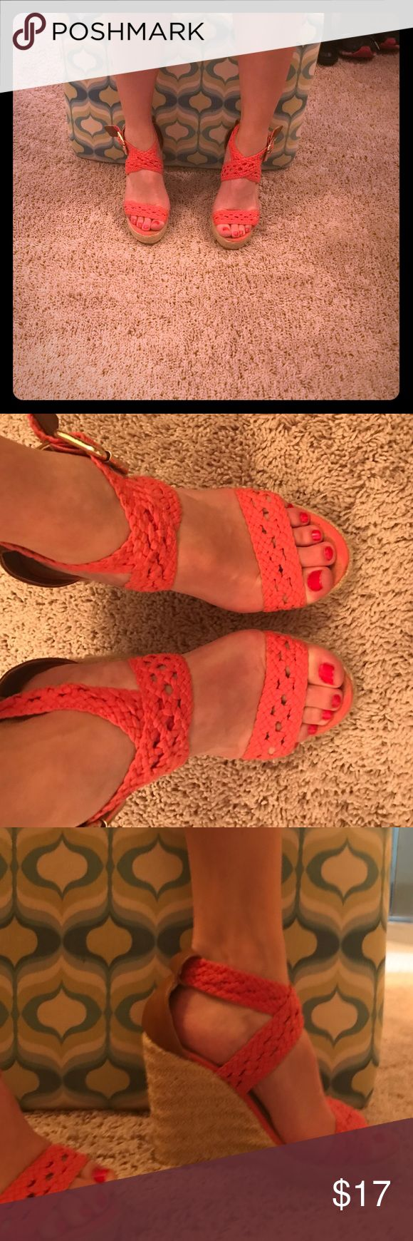Steve Madden Coral Wedges STEAL!! Gorgeous Wedges! These shoes have are in EUC. There are no signs of wear except for small toe prints. You cannot see them while wearing the shoes. Steve Madden Shoes Wedges