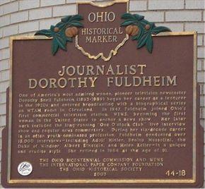 Journalist Dorothy Fuldheim (44 - 18) - Ohio Historical Markers on Waymarking.com