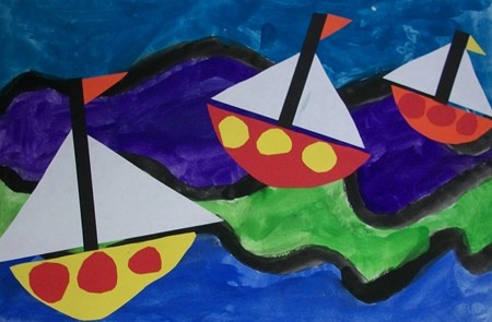 1st grade seascape collage paint foreground background art lesson project - Kindergarten Columbus Day project