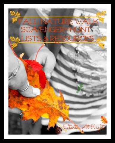 Fall Nature Walk - Scavenger Hunt Lists & Resources includes 2 free printable scavenger hunt lists; one for middle/high school and one for elementary.