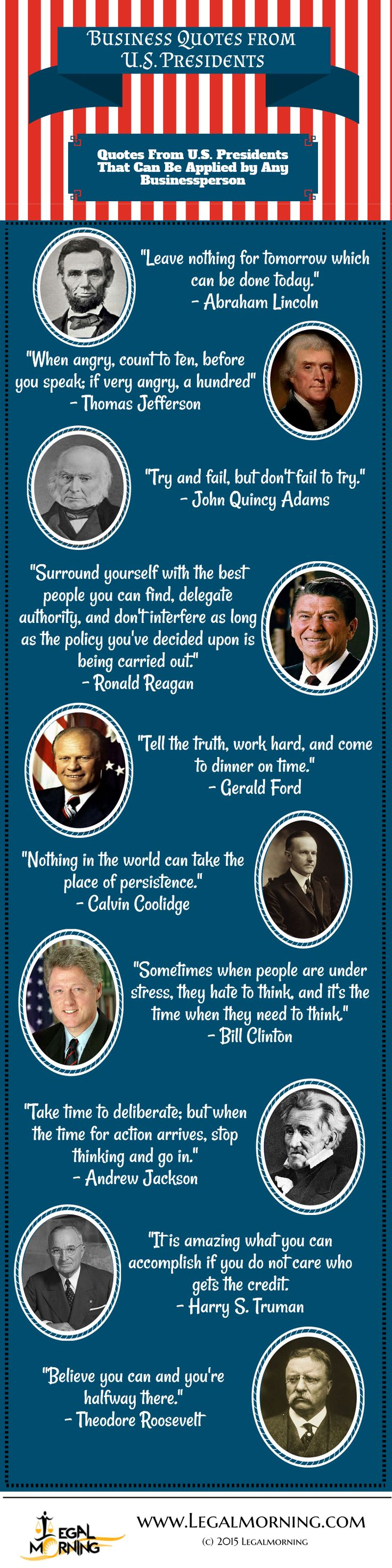 Business quotes from united states presidents infographic