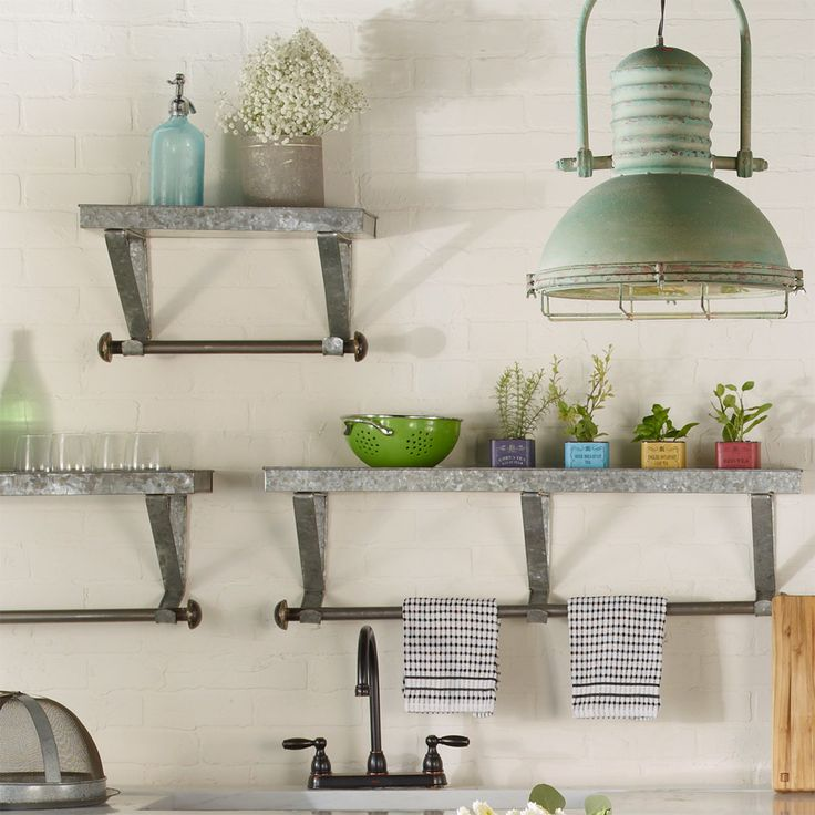 this set of three metal shelves is perfect for adding stylish storage space to industrial and farmhouse chic spaces