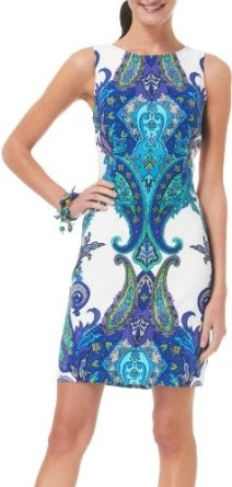 Sleeveless Vibrant Paisley Sheath Dress @benefitbeauty