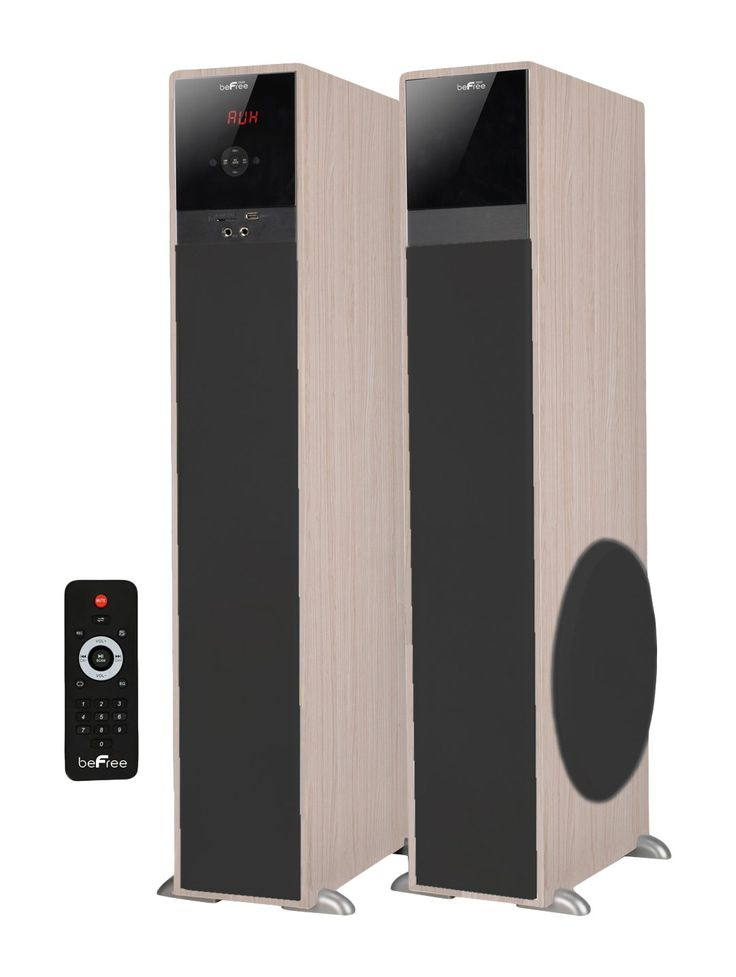 "beFree Sound BFS-TP100WD 2.1 Channel Bluetooth Tower Speakers - Wood. The ultimate home audio experience with beFree Sound's 2.1 channel Bluetooth tower speaker system. This speaker system is sophistically designed, featuring a sleek look and smooth sound. With Bluetooth, usb, SD and FM radio capability. 137"" speaker connector cord. Comes as a pair and includes a remote control."