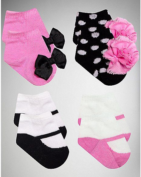 Fancy Bow and Flower Baby Socks 4 Pair - Spencer's