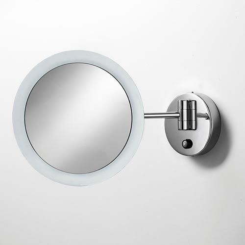 Mevedo Polished Chrome LED Wall-Mounted Magnifying Mirror