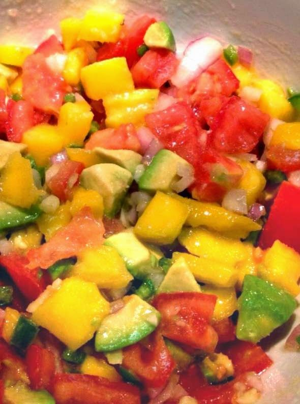 Mango Avocado Salsa. Easy recipe using 1 mango, 1 avocado, 2 tomatoes, 1 jalapeño pepper, 3 cloves garlic, 1/4 cup red onion, 1 tsp sea salt, 1 tbsp fresh lime juice and 2 tbsp olive oil.