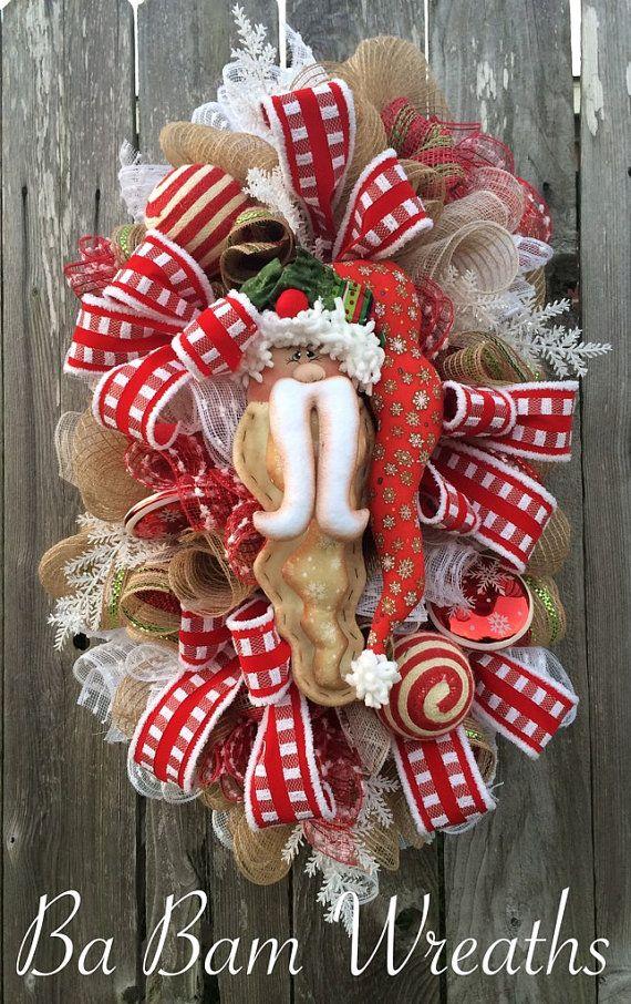 Christmas Wreath Christmas Swag Rustic Christmas by BaBamWreaths