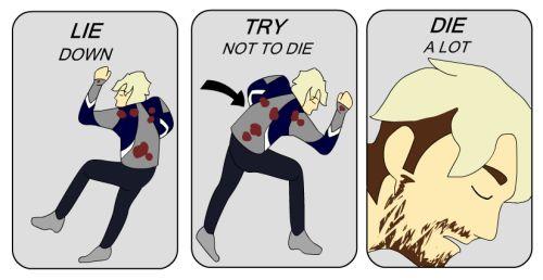 Lay down, try not to die, die a lot. Pietro meme.