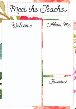 15 best images about miss kiz on pinterest inspirational posters floral patterns and student for Meet the teacher editable template