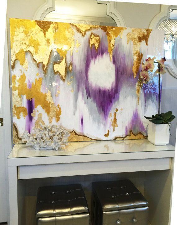"""Vendido!! Acrílicos abstractos arte gran lienzo pintura gris, púrpura, oro Ikat Ombre brillo con cristal y resina capa 36 """"x 48"""" pan de oro verdadero"""