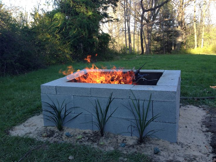 Our cinder block fire pit ablaze!